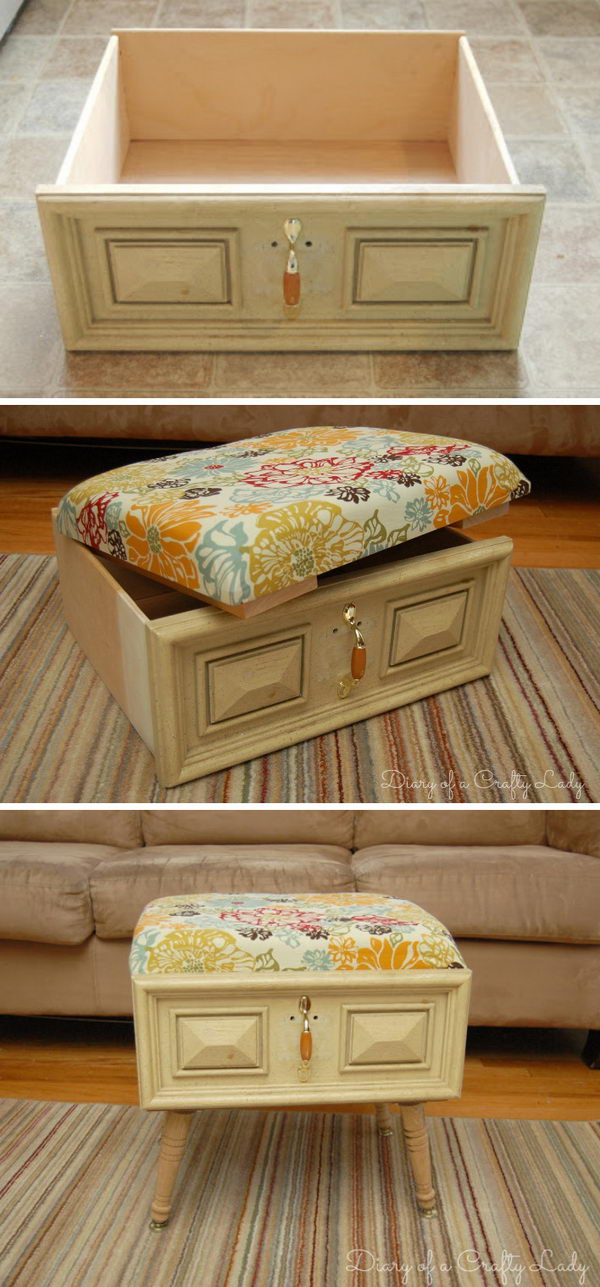 DIY Old Drawer Ottoman.