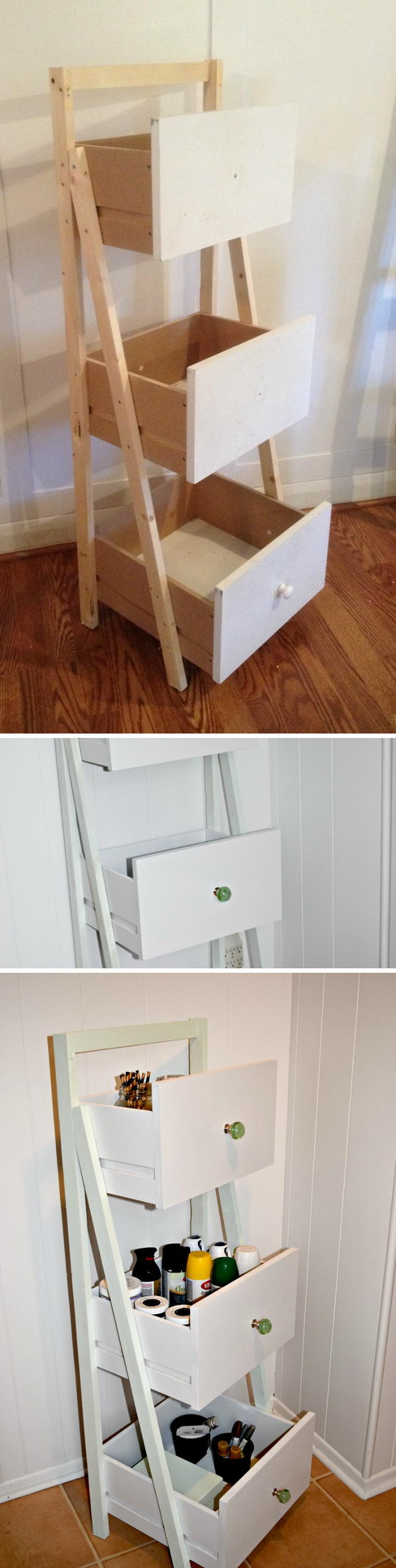 DIY Drawer Ladder Shelf Organizer.