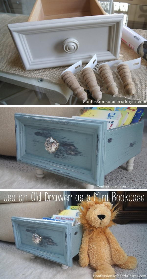 DIY Old Drawer Mini Bookcase.